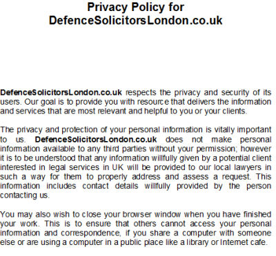 privacy policy UK